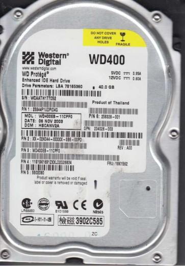WD400EB-11CPF0, DCM HSCANV2A, Western Digital 40GB IDE 3.5 Hard Drive