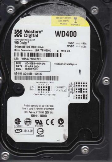 WD400BB-00HEA0, DCM ESBHCTJCH, Western Digital 40GB IDE 3.5 Hard Drive
