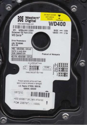 WD400BB-00FJA0, DCM DSBACTJCH, Western Digital 40GB IDE 3.5 Hard Drive
