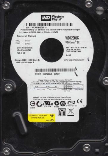 WD1200JS-00NCB1, DCM HSCANTJAAB, Western Digital 120GB SATA 3.5 Hard Drive