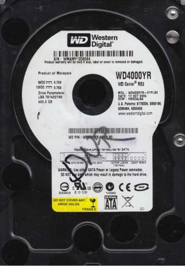 WD4000YR-01PLB0, DCM HBHCAJAA, Western Digital 400GB SATA 3.5 Hard Drive