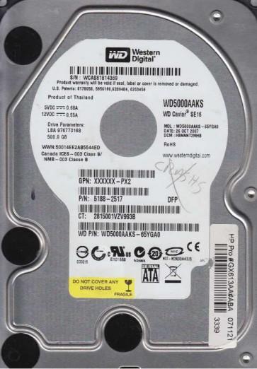 WD5000AAKS-65YGA0, DCM HBNNNT2MHB, Western Digital 500GB SATA 3.5 Hard Drive