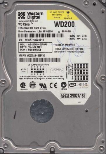 WD200AB-32BVA0, DCM HSBBHT2CB, Western Digital 20GB IDE 3.5 Hard Drive
