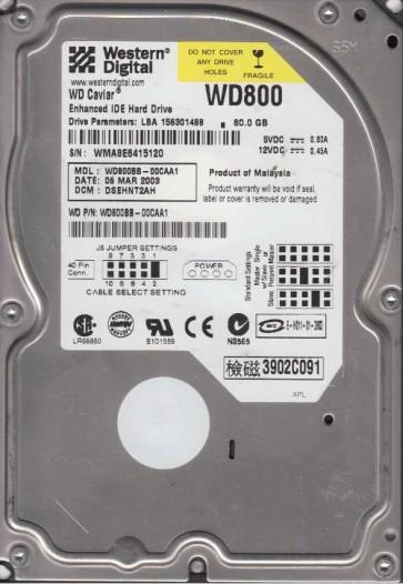 WD800BB-00CAA1, DCM DSEHNT2AH, Western Digital 80GB IDE 3.5 Hard Drive