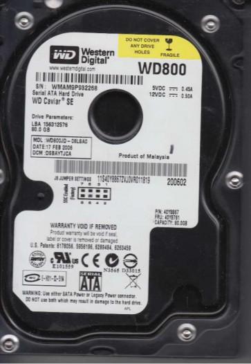 WD800JD-08LSA0, DCM DSBAYTJCA, Western Digital 80GB SATA 3.5 Hard Drive