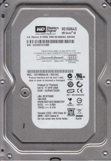 WD1600AAJS-00D1A0, DCM HARNHT2EBN, Western Digital 160GB SATA 3.5 Hard Drive