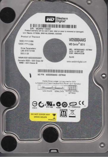 WD5000AAKS-00TMA0, DCM HBNCHV2CAB, Western Digital 500GB SATA 3.5 Hard Drive