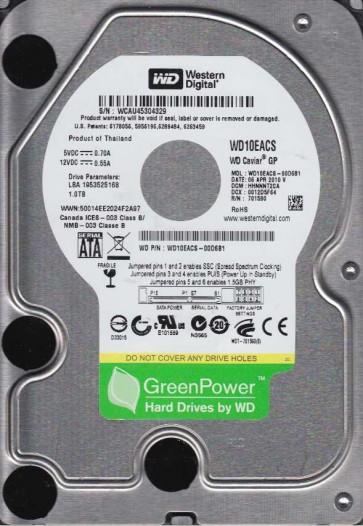 WD10EACS-00D6B1, DCM HHNNNT2CA, Western Digital 1TB SATA 3.5 Hard Drive