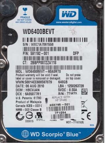 WD6400BEVT-60A0RT0, DCM HBCVJAN, Western Digital 640GB SATA 2.5 Hard Drive
