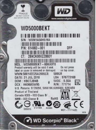 WD5000BEKT-60KA9T0, DCM HBCTJBNB, Western Digital 500GB SATA 2.5 Hard Drive