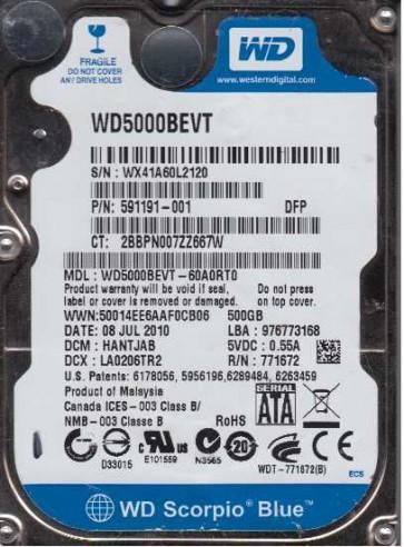 WD5000BEVT-60A0RT0, DCM HANTJAB, Western Digital 500GB SATA 2.5 Hard Drive