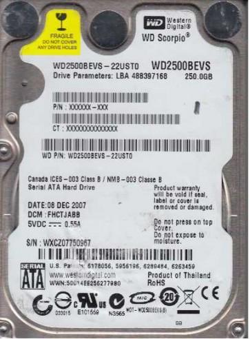 WD2500BEVS-22UST0, DCM FHCTJABB, Western Digital 250GB SATA 2.5 Hard Drive
