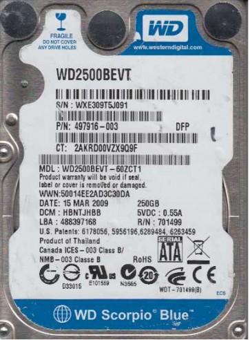 WD2500BEVT-60ZCT1, DCM HBNTJHBB, Western Digital 250GB SATA 2.5 Hard Drive