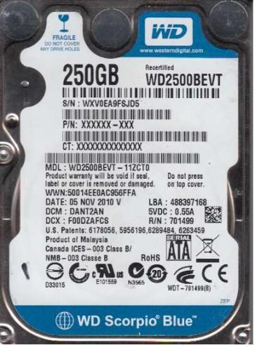 WD2500BEVT-11ZCT0, DCM DANT2AN, Western Digital 250GB SATA 2.5 Hard Drive