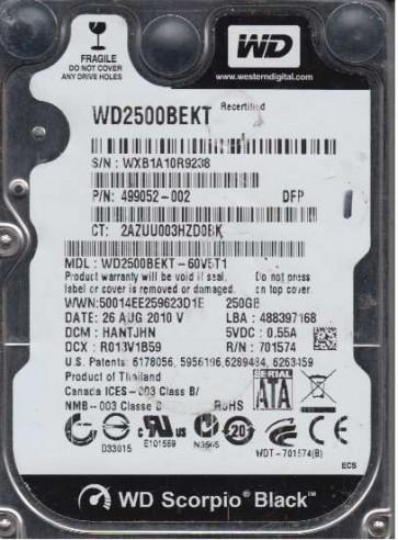 WD2500BEKT-60V5T1, DCM HANTJHN, Western Digital 250GB SATA 2.5 Hard Drive