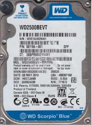 WD2500BEVT-60A23T0, DCM HECTJANB, Western Digital 250GB SATA 2.5 Hard Drive