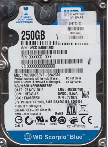 WD2500BEVT-22A23T0, DCM HECVJAB, Western Digital 250GB SATA 2.5 Hard Drive