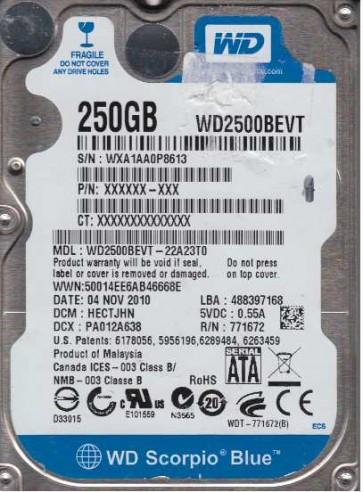 WD2500BEVT-22A23T0, DCM HECTJHN, Western Digital 250GB SATA 2.5 Hard Drive