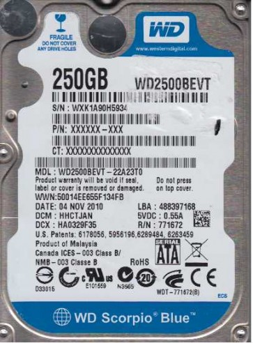 WD2500BEVT-22A23T0, DCM HHCTJAN, Western Digital 250GB SATA 2.5 Hard Drive