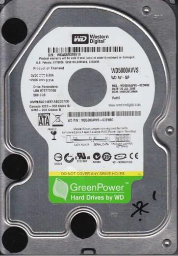 WD5000AVVS-63ZWB0, DCM HHRCNTJMHN, Western Digital 500GB SATA 3.5 Hard Drive