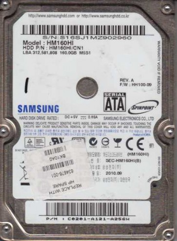 HM160HI, HM160HI/CN1, FW HH100-09, Samsung 160GB SATA 2.5 Hard Drive