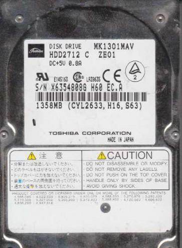 MK1301MAV, A0/B0.03A, HDD2712 C ZE01, Toshiba 1.3GB IDE 2.5 Hard Drive