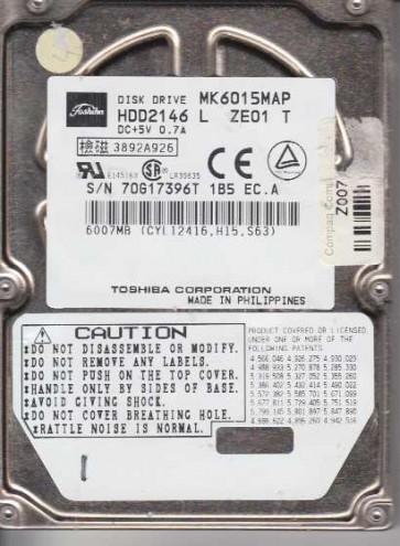 MK6015MAP, E0/U8.13A, HDD2146 L ZE01 T, Toshiba 6GB IDE 2.5 Hard Drive