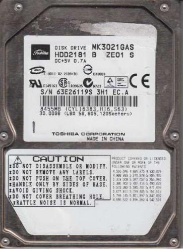 MK3021GAS, D0/GA124G, HDD2181 B ZE01 S, Toshiba 30GB IDE 2.5 Hard Drive