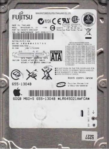 MHV2060BH, PN CA06672-B55100AP, Fujitsu 60GB SATA 2.5 Hard Drive
