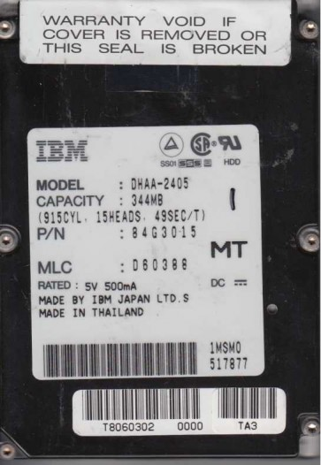 DHAA-2405, PN 84G3015, MLC D60388, IBM 344MB IDE 2.5 Hard Drive