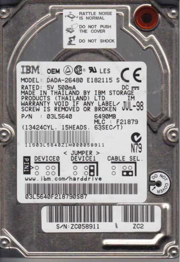 DADA-26480, PN 03L5640, MLC F21879, IBM 6.5GB IDE 2.5 Hard Drive