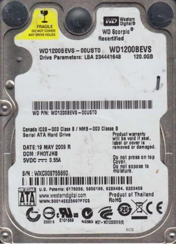 WD1200BEVS-00UST0, DCM FHOTJHB, Western Digital 120GB SATA 2.5 Hard Drive