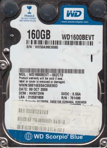 WD1600BEVT-00ZCT0, DCM HHNT2HN, Western Digital 160GB SATA 2.5 Hard Drive