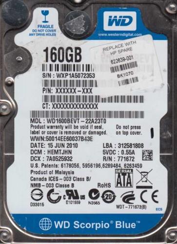 WD1600BEVT-22A23T0, DCM HEMTJHN, Western Digital 160GB SATA 2.5 Hard Drive