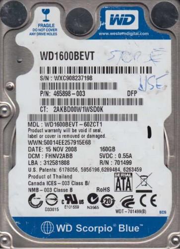 WD1600BEVT-60ZCT1, DCM FHNV2ABB, Western Digital 160GB SATA 2.5 Hard Drive