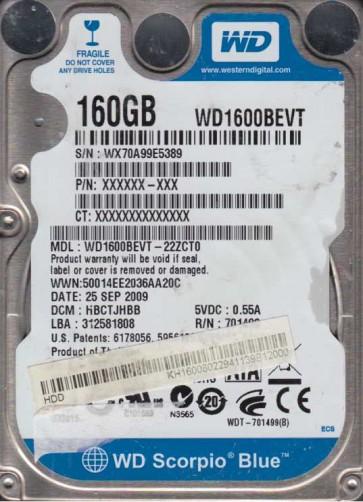 WD1600BEVT-22ZCT0, DCM HBCTJHBB, Western Digital 160GB SATA 2.5 Hard Drive