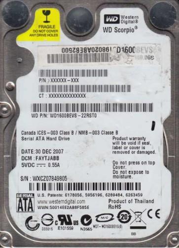 WD1600BEVS-22RST0, DCM FAYTJABB, Western Digital 160GB SATA 2.5 Hard Drive