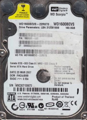 WD1600BEVS-22RST0, DCM FHCAJBBB, Western Digital 160GB SATA 2.5 Hard Drive