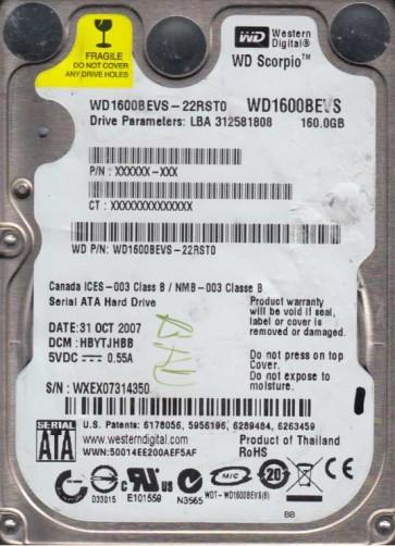 WD1600BEVS-22RST0, DCM HBYTJHBB, Western Digital 160GB SATA 2.5 Hard Drive
