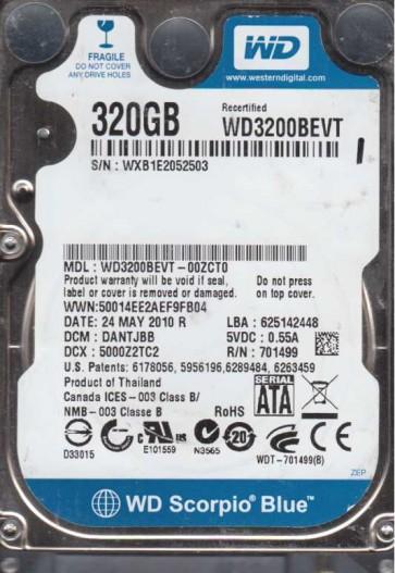 WD3200BEVT-00ZCT0, DCM DANTJBB, Western Digital 320GB SATA 2.5 Hard Drive