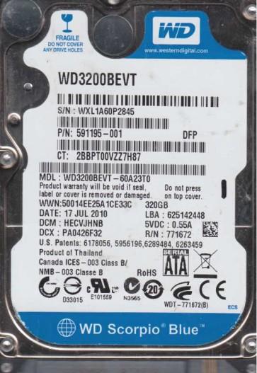 WD3200BEVT-60A23T0, DCM HECVJHNB, Western Digital 320GB SATA 2.5 Hard Drive