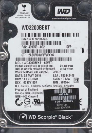 WD3200BEKT-60V5T1, DCM EANTJHNB, Western Digital 320GB SATA 2.5 Hard Drive