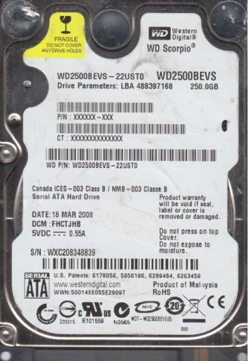 WD2500BEVS-22UST0, DCM FHCTJHB, Western Digital 250GB SATA 2.5 Hard Drive