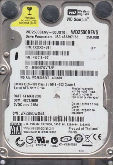 WD2500BEVS-60UST0, DCM HBCTJHBB, Western Digital 250GB SATA 2.5 Hard Drive