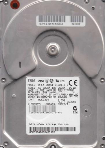 DHEA-38451, PN 00K0394, MLC E67648, IBM 8.4GB IDE 3.5 Hard Drive