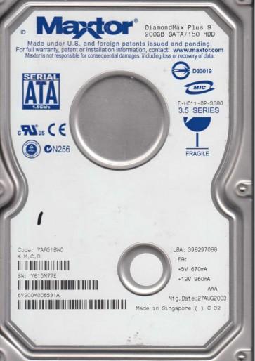 6Y200M0, Code YAR51BW0, KMCD, Maxtor 200GB SATA 3.5 Hard Drive