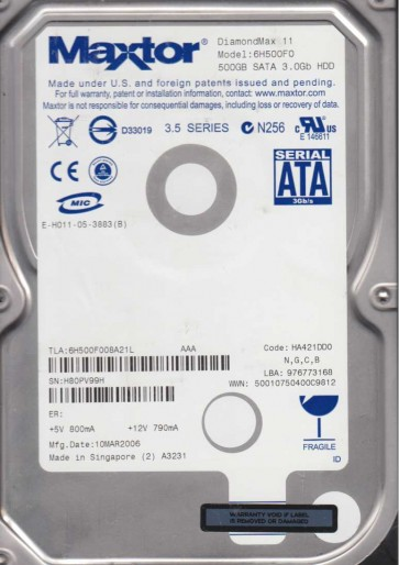 6H500F0, Code HA421DD0, NGCB, Maxtor 500GB SATA 3.5 Hard Drive