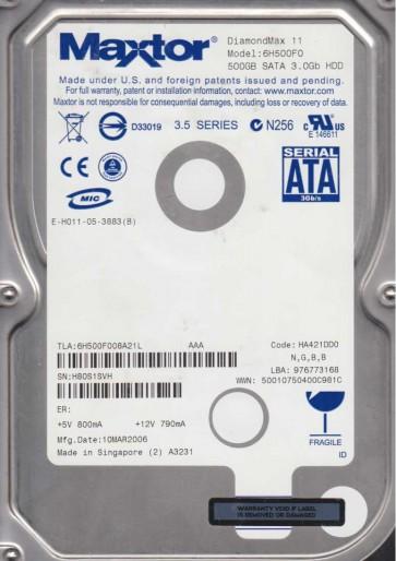 6H500F0, Code HA421DD0, NGBB, Maxtor 500GB SATA 3.5 Hard Drive