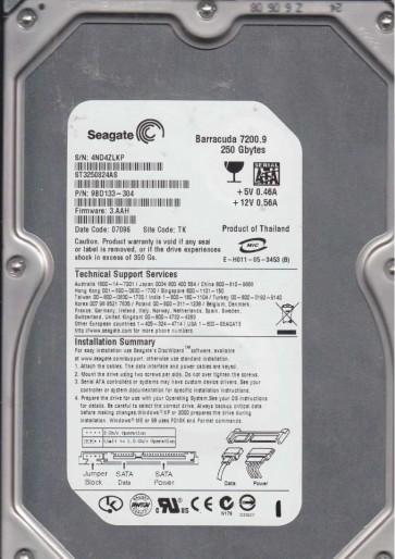 ST3250824AS, 4ND, TK, PN 9BD133-304, FW 3.AAH, Seagate 250GB SATA 3.5 Hard Drive