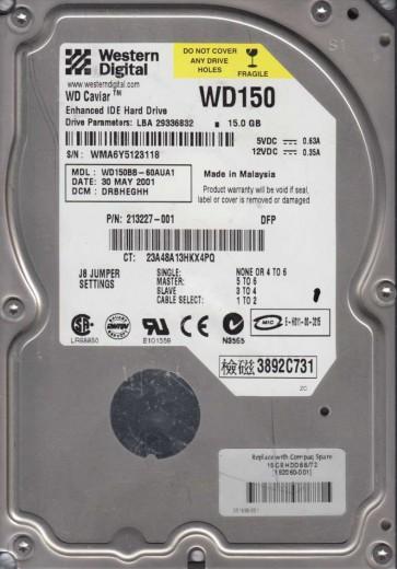 WD150BB-60AUA1, DCM DRBHEGHH, Western Digital 15GB IDE 3.5 Hard Drive